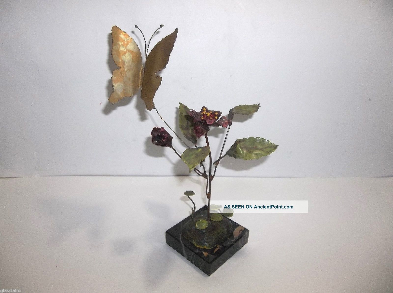 Brutalist Flower Sculpture Oxidized Metal Enamel Butterfly Signed Lee Worman Mid-Century Modernism photo