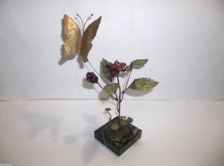 Brutalist Flower Sculpture Oxidized Metal Enamel Butterfly Signed Lee Worman photo