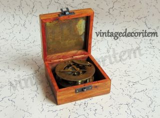Nautical Brass Antique Sundial Vintage Compass With Wooden Box photo
