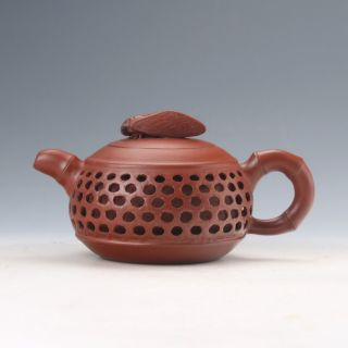 Yixing Sand - Fired Handwork Hollow Carved Teapot W Cicada Lid D953 photo