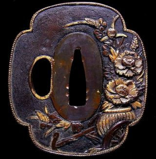 "Mino Tsuba 18 - 19th C Japanese Edo Samurai Antique Sword Fitting ""flowers"" D000 photo"