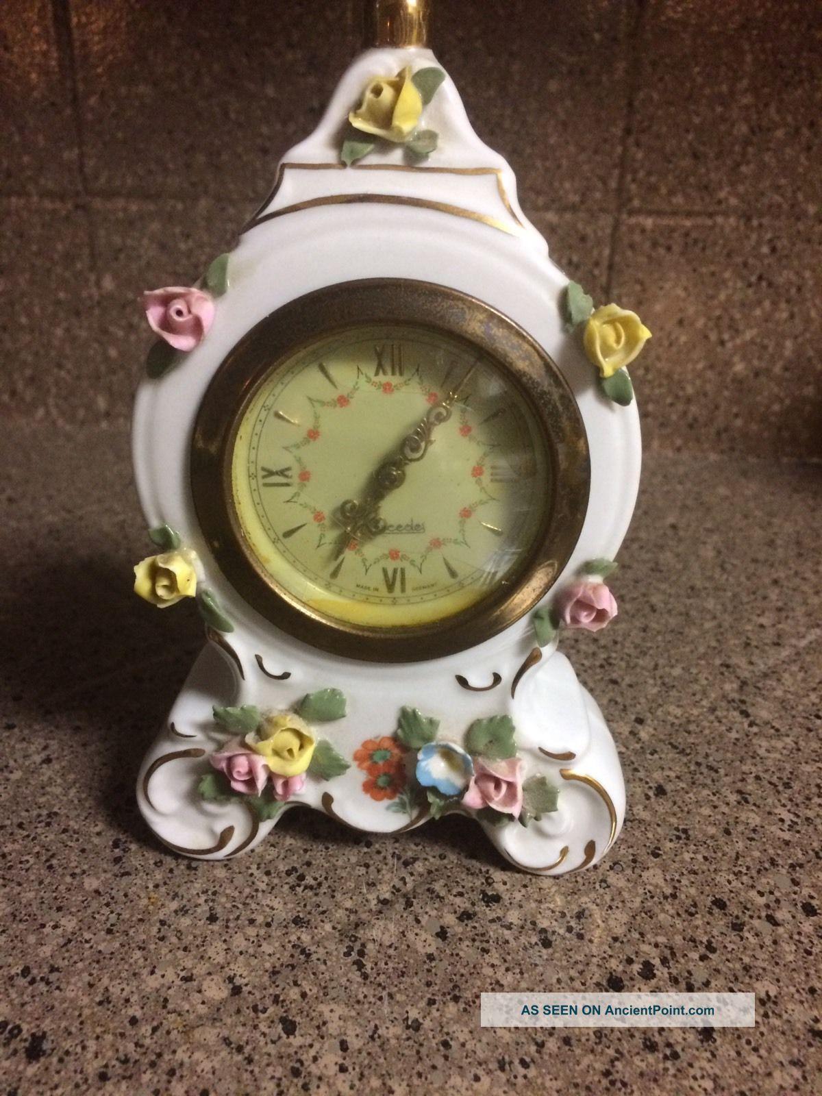Vintage Dresden Porcelain Germany Clock Ernst Bohne Sandizell Sweet Boudoir Rose Clocks photo