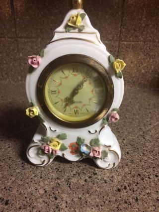 Vintage Dresden Porcelain Germany Clock Ernst Bohne Sandizell Sweet Boudoir Rose photo