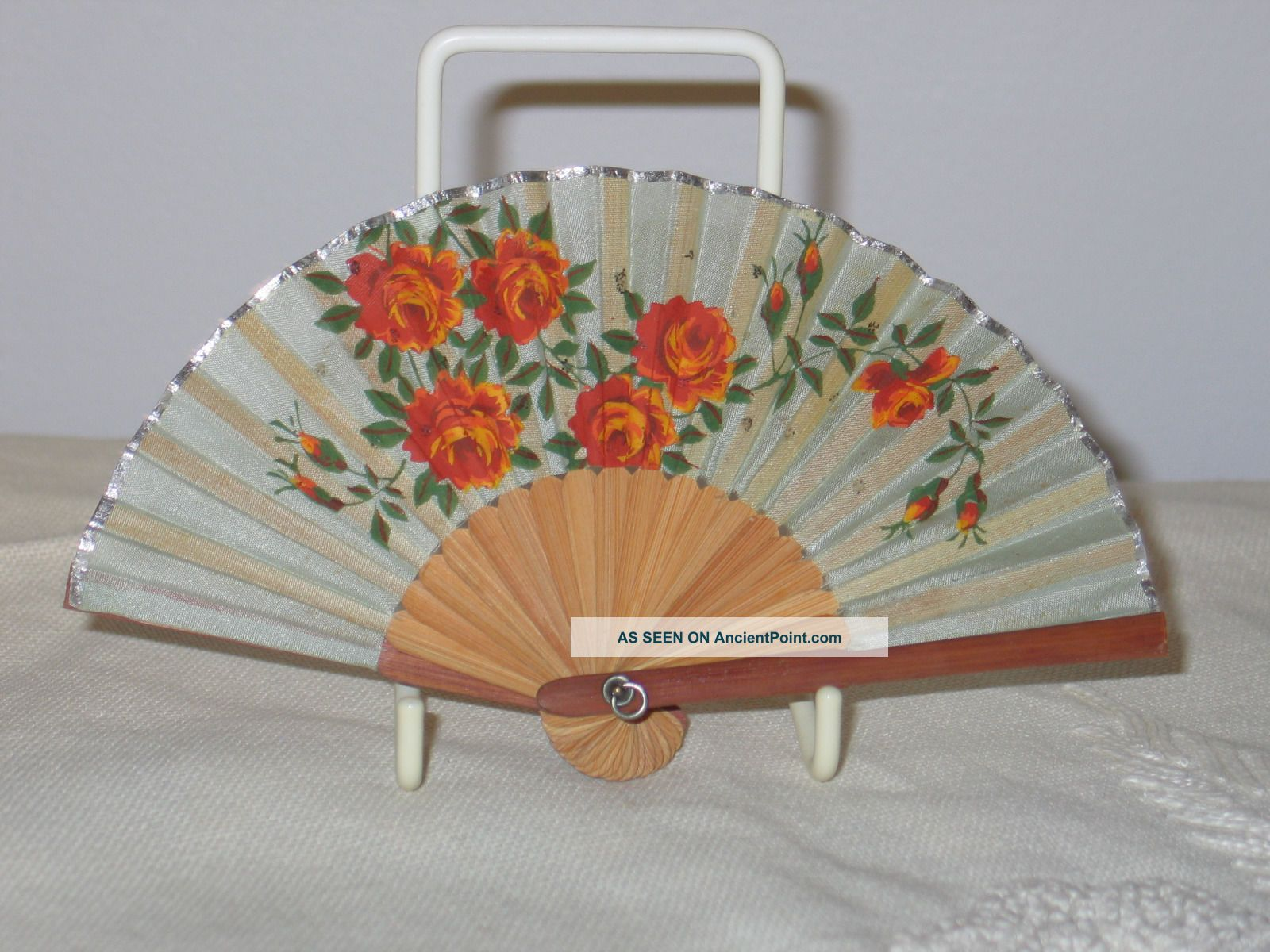 Antique Vintage Occupied Japan Bamboo - Silk - Hand Painted - Miniature Fan - Doll Other Antique Decorative Arts photo