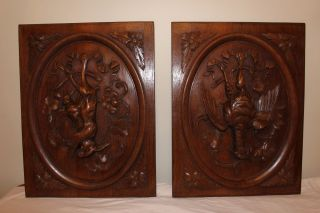 Pair French Carved Wood,  Panel,  Ca1880,  Rabbit Pheasant,  Hunting Hunt,  Oak photo
