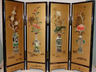 Vintage Asian Wood Table Screen With Applied Botanical Designs Black & Gold photo