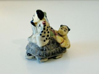 Chinese Hand Painted Buddhism Netsuke Statue - Teaching Values Of Buddha photo