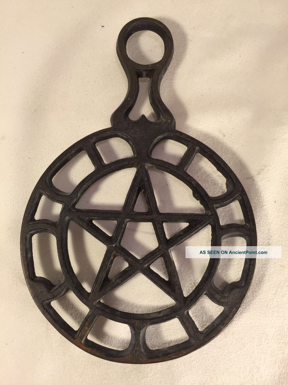 Cast Iron Trivet Wall Hanging Vintage Star Pentagram Heart Footed Trivets photo