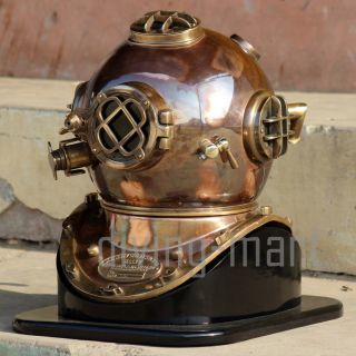 Boston Mass U.  S Navy Mark V Solid Copper & Bras Diving Helmet Ful Size With Base photo