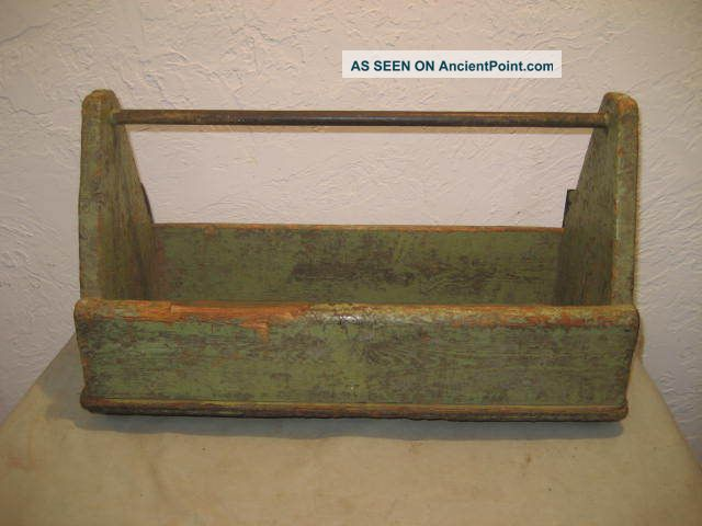 Primitive Tool Box / Caddy - Old Green Paint - 19