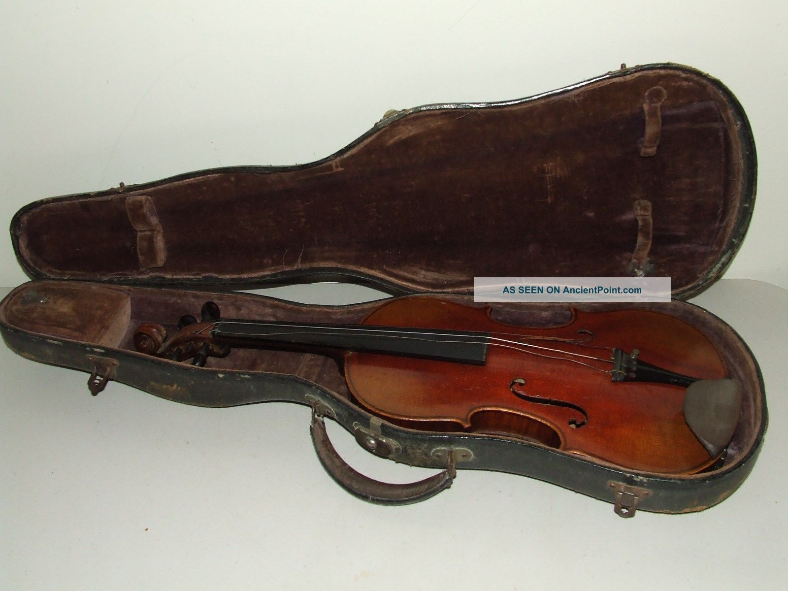 Antique 19th C.  German Violin W/ Case - Tiger Maple With Ebony Fingerboard & Pegs String photo