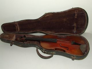 Antique 19th C.  German Violin W/ Case - Tiger Maple With Ebony Fingerboard & Pegs photo