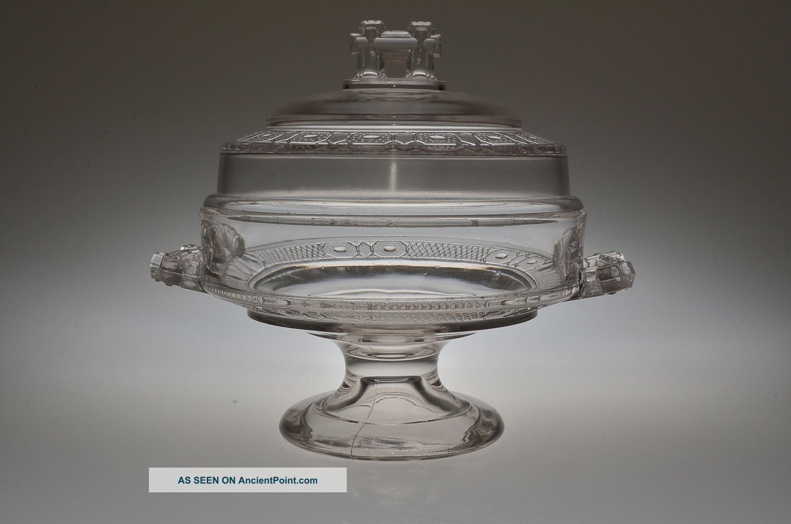 Ca.  1880 N0.  200 Two Band By Doyle Glass Crystal Low Standard Covered Compote Compotes photo