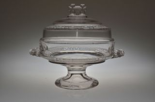 Ca.  1880 N0.  200 Two Band By Doyle Glass Crystal Low Standard Covered Compote photo