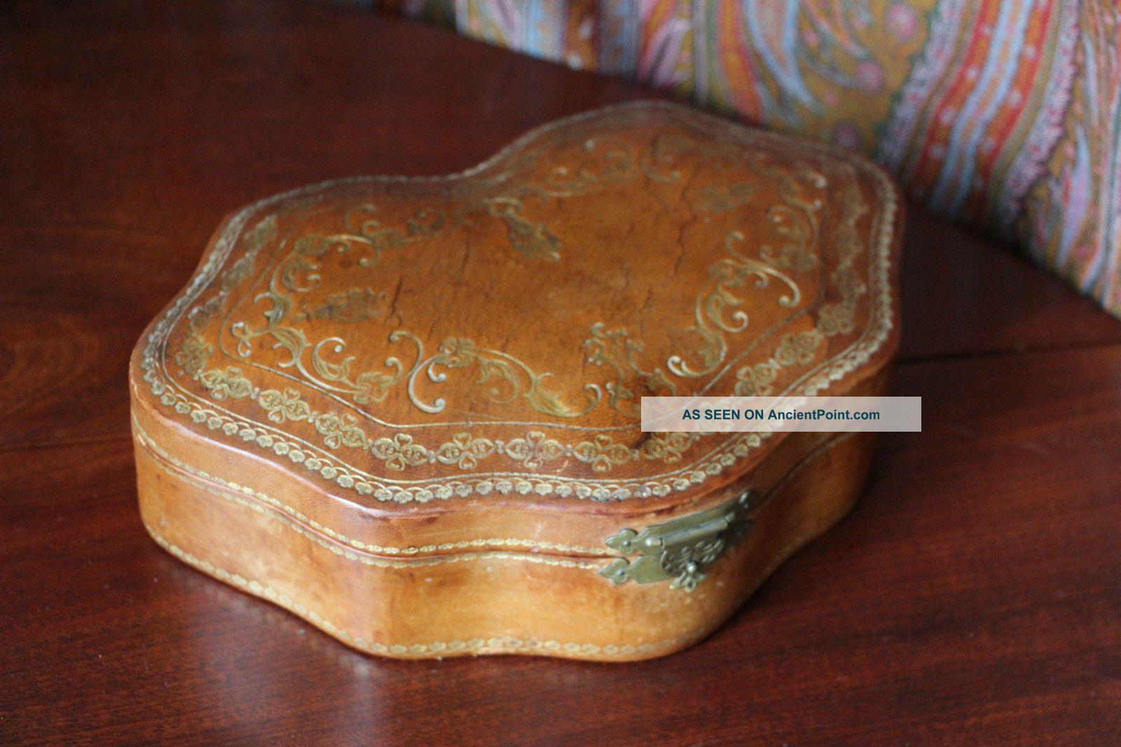 Antique Tooled Gilt Leather Box Roma Italy Italian Other Antique Decorative Arts photo