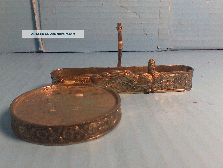 Vtg.  Ardalt Brass Tea Cup & Saucer Holder - Metal Bird Display From Japan Metalware photo