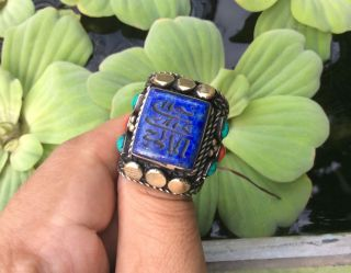 Men ' S Near Eastern Engraved Lapis Rings Vintage Afghanislamic Arabic Intaglio 11 photo
