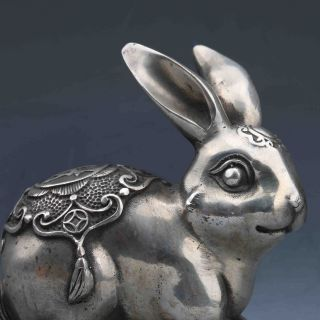 Tibeten Silver Handwork Carved Rabbit Statue G699 photo
