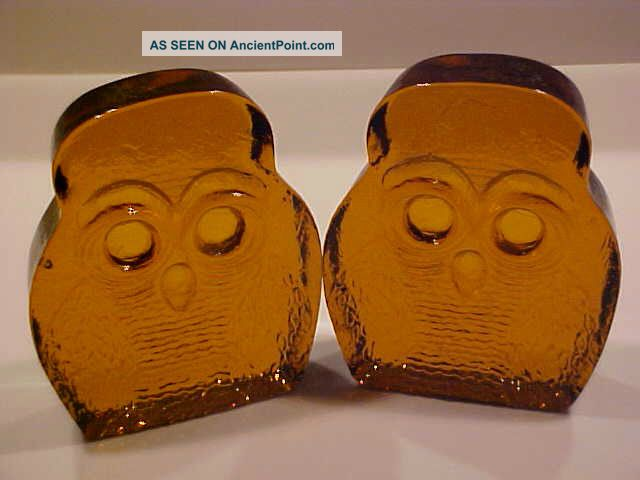 Vintage Blenko Owls Bookends 2 1969 Designed By Joel Myers Amber Mid-Century Modernism photo
