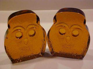 Vintage Blenko Owls Bookends 2 1969 Designed By Joel Myers Amber photo