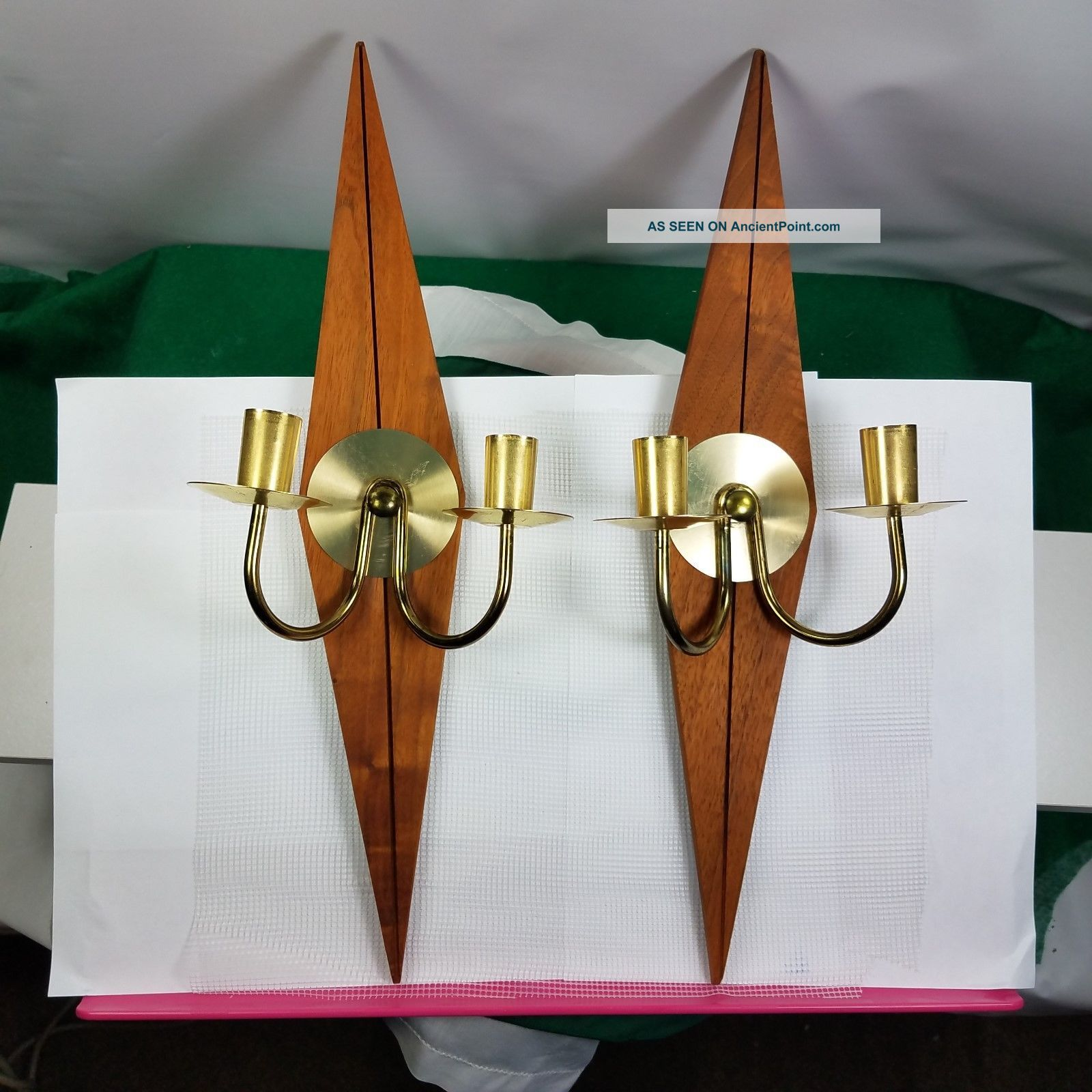 Two Mid Century Modern Lamp Candle Holder Wall Sconces Diamond Wood And Brass Mid-Century Modernism photo