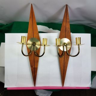 Two Mid Century Modern Lamp Candle Holder Wall Sconces Diamond Wood And Brass photo