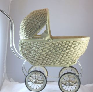 Antique Victorian Wicker Doll Baby Carriage Buggy photo