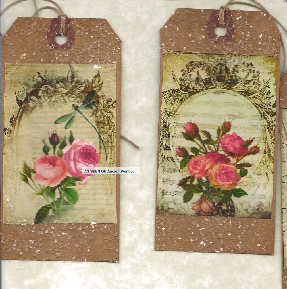 12 Primitive Tags Shabby Chic Roses Hang Tags Folk Grungyset 2 Primitives photo