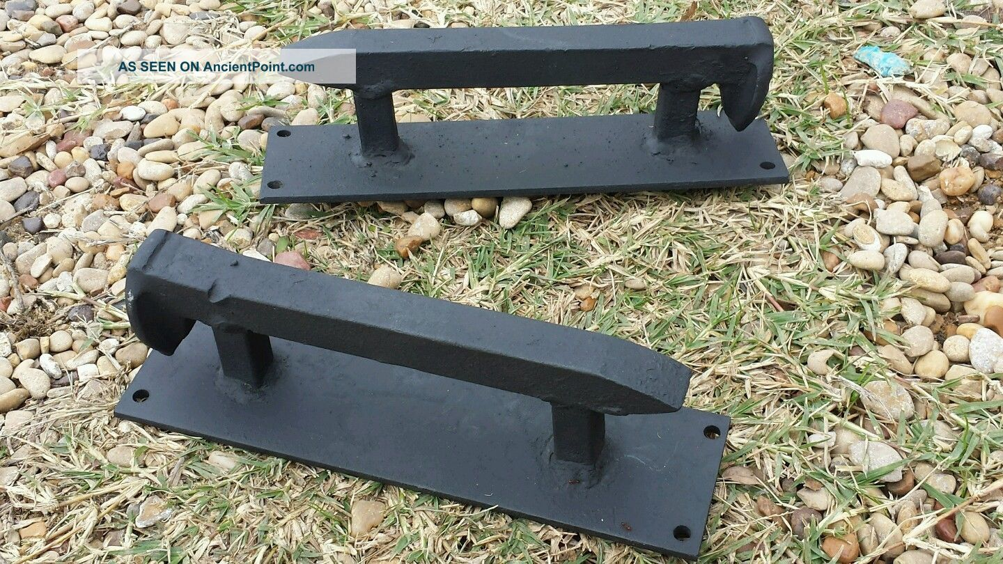 2 Hand Made Flat Black Old Rail Road Spike Coffin Handles Gate Door Cabinet Hdw Primitives photo