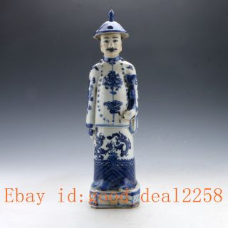 Chinese Blue And White Handwork Character Statue photo