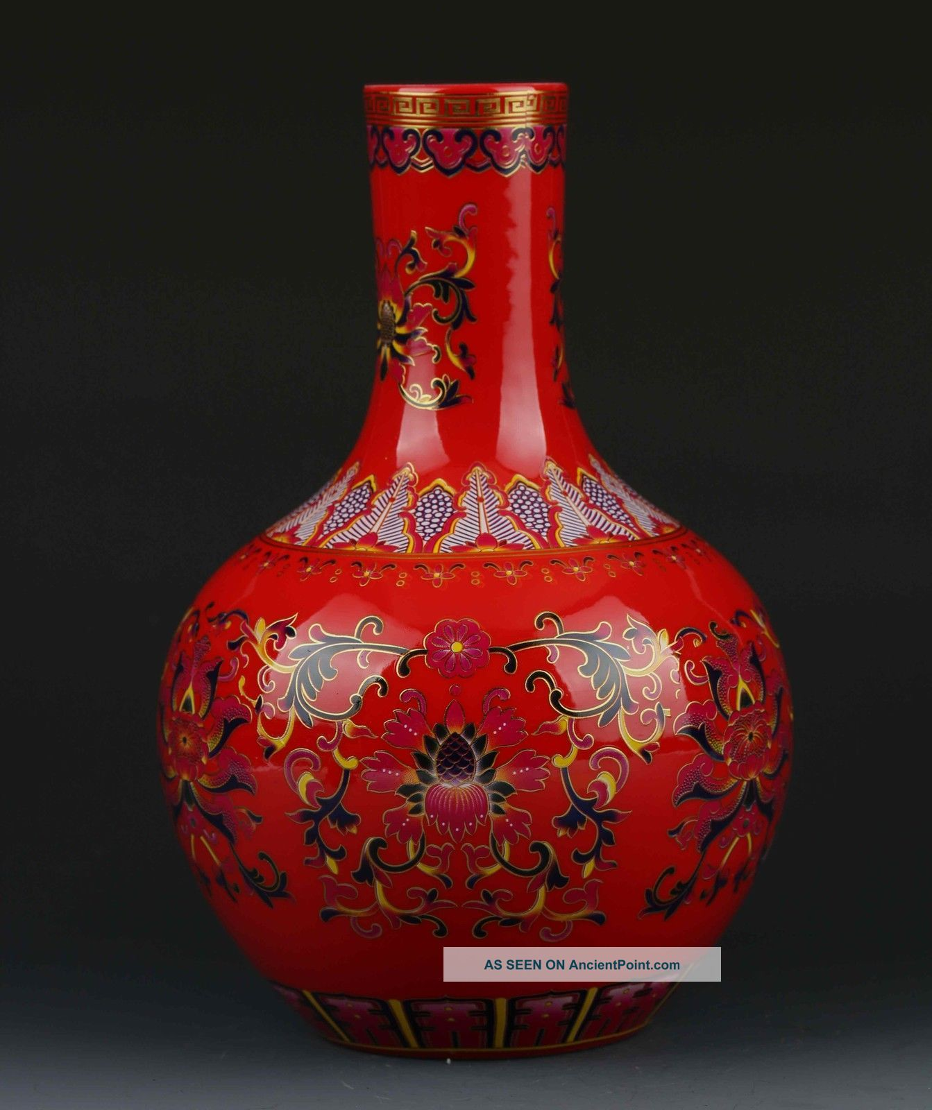 Chinese Color Porcelain Flowers Vase W Qianlong Mark Vases photo