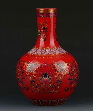 Chinese Color Porcelain Flowers Vase W Qianlong Mark photo