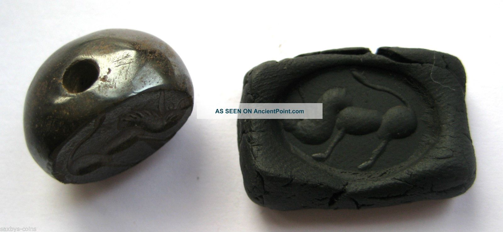 Circa.  400 A.  D Sassanian Empire Zoomorphic Pirite Dome Seal - Boar Detail Near Eastern photo