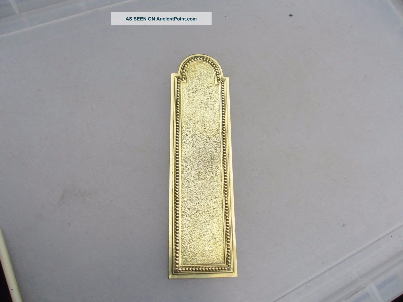 Vintage Brass Finger Plate Push Door Handle French Architectural Salvage Beading Door Knobs & Handles photo