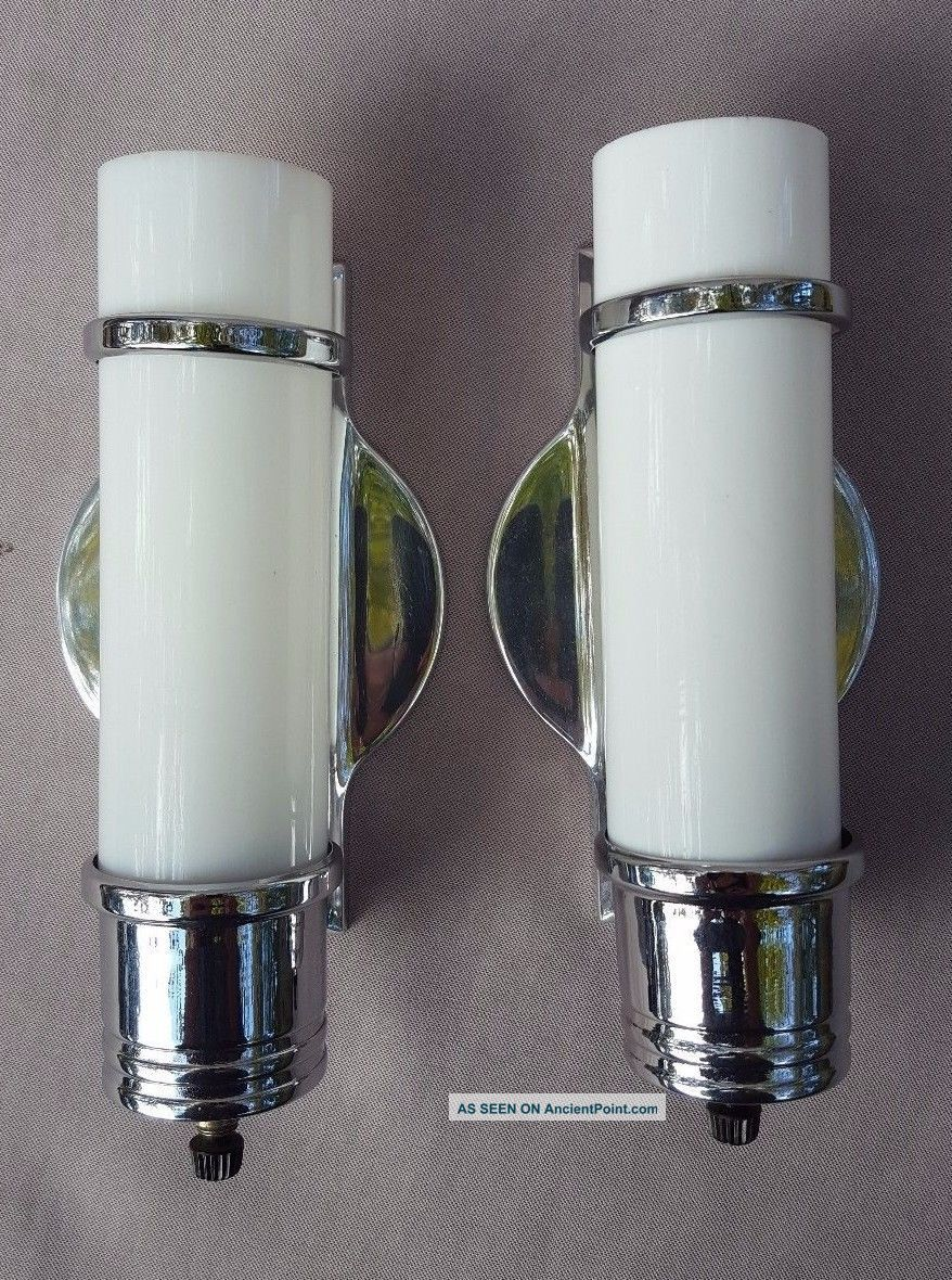 Pair Virden 1930s Chrome & Milk Glass Bath Sconces,  Art Deco,  Rechromed,  Rewired Chandeliers, Fixtures, Sconces photo