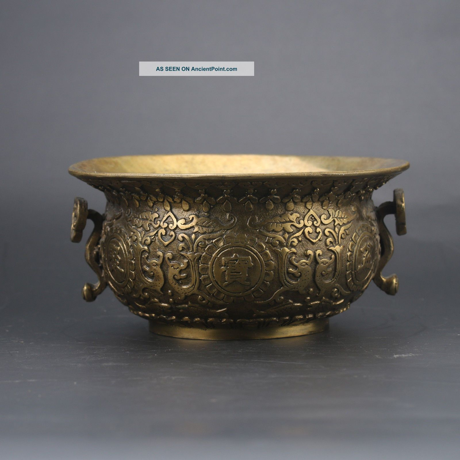 Chinese Brass Hand - Carved Cornucopia Incense Burner W Qing Dynasty Z270 Incense Burners photo