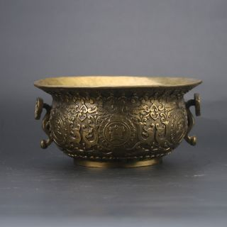 Chinese Brass Hand - Carved Cornucopia Incense Burner W Qing Dynasty Z270 photo