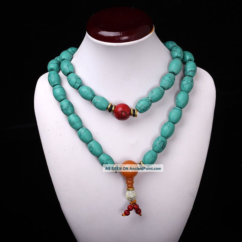 Collectibles Handwork Old Turquoise&red Coral&beeswax Toyed Prayer Bead Necklace See more Collectibles Handwork Old Turquoise&red Coral&... photo