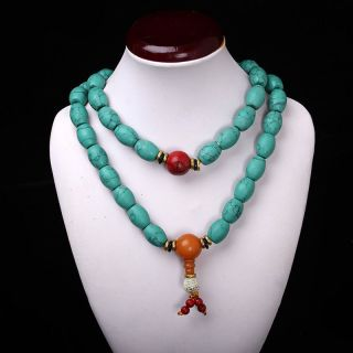 Collectibles Handwork Old Turquoise&red Coral&beeswax Toyed Prayer Bead Necklace photo