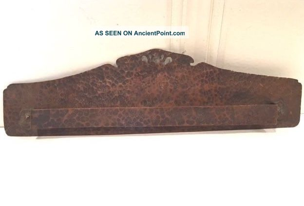 Arts & Crafts Hand Hammered Copper Tea Towel Rack With Cutouts Signed Frank Friz Arts & Crafts Movement photo