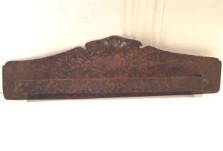Arts & Crafts Hand Hammered Copper Tea Towel Rack With Cutouts Signed Frank Friz photo