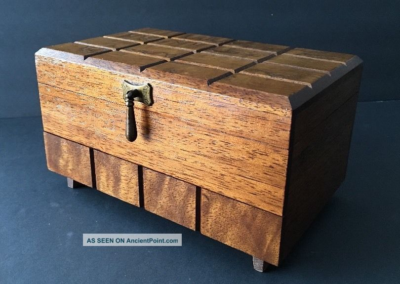 Vintage Mid Century Modern Wood Footed Jewelry Box With Drawer,  Velvet Japan Mid-Century Modernism photo