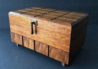 Vintage Mid Century Modern Wood Footed Jewelry Box With Drawer,  Velvet Japan photo