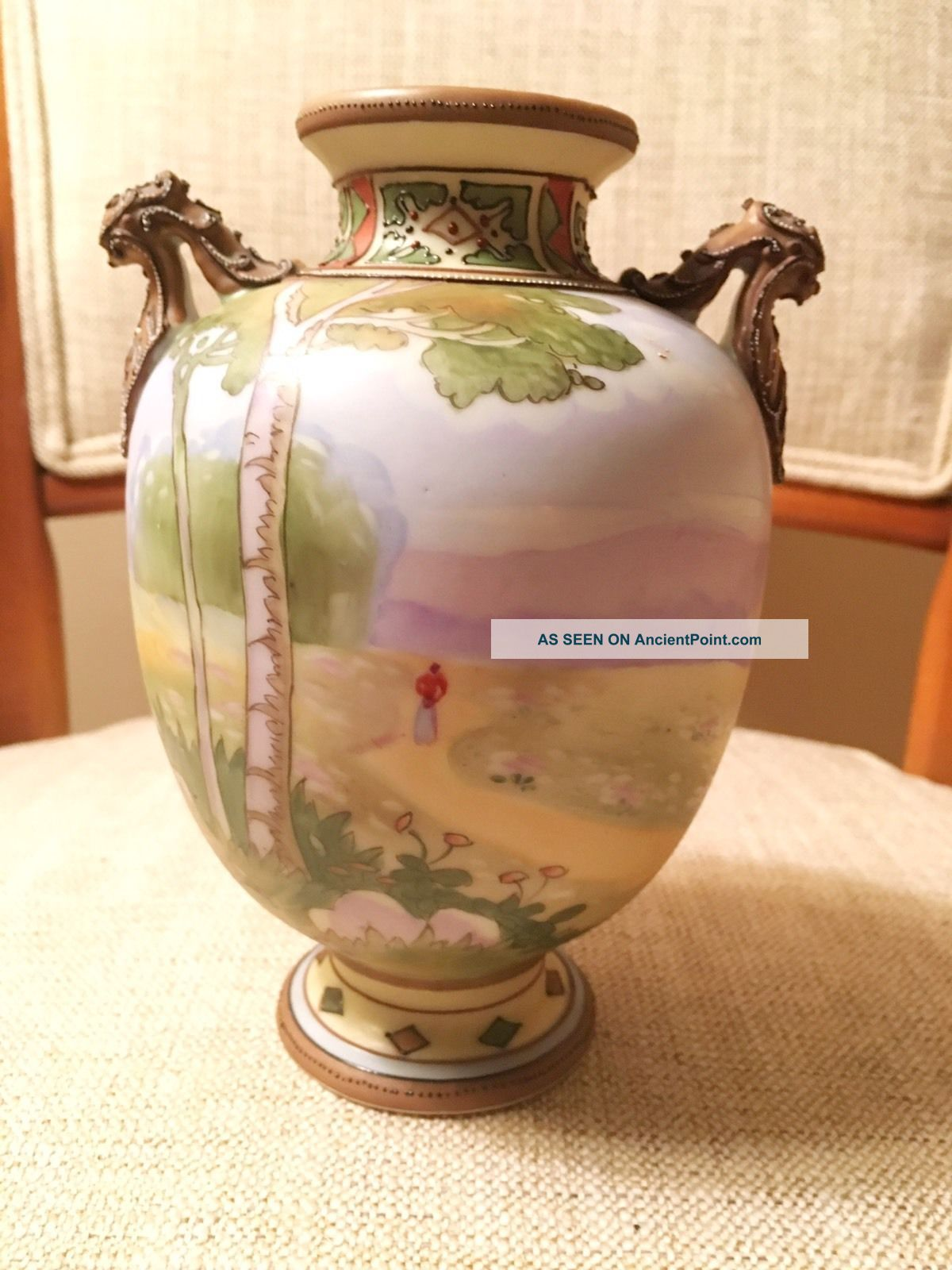 Antique Japanese Nippon Country Landscape Hand Painted Vase Arts & Crafts Period Arts & Crafts Movement photo