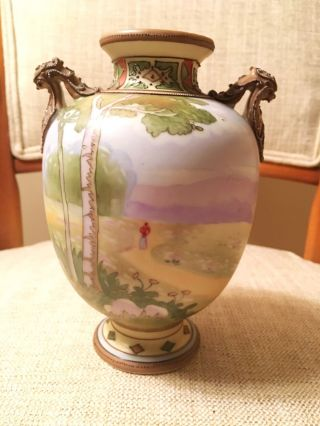 Antique Japanese Nippon Country Landscape Hand Painted Vase Arts & Crafts Period photo