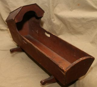 Antique Primitive Wood Doll Bed Crib Cradle Bonnet Style Country photo