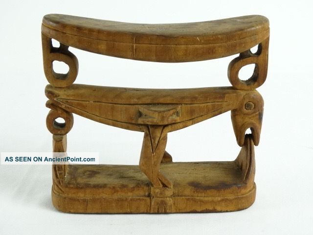 Old African Art,  Tribal Sculpture,  Wood Carved Primitive Headrest Bamileke Bird African photo