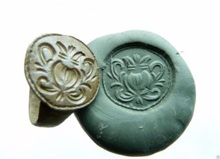 Post - Medieval Bronze Seal - Ring (405). photo