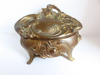 Vintage Wb Mfg Co.  Ornate Oval Metal Jewelry Trinket Casket Box photo