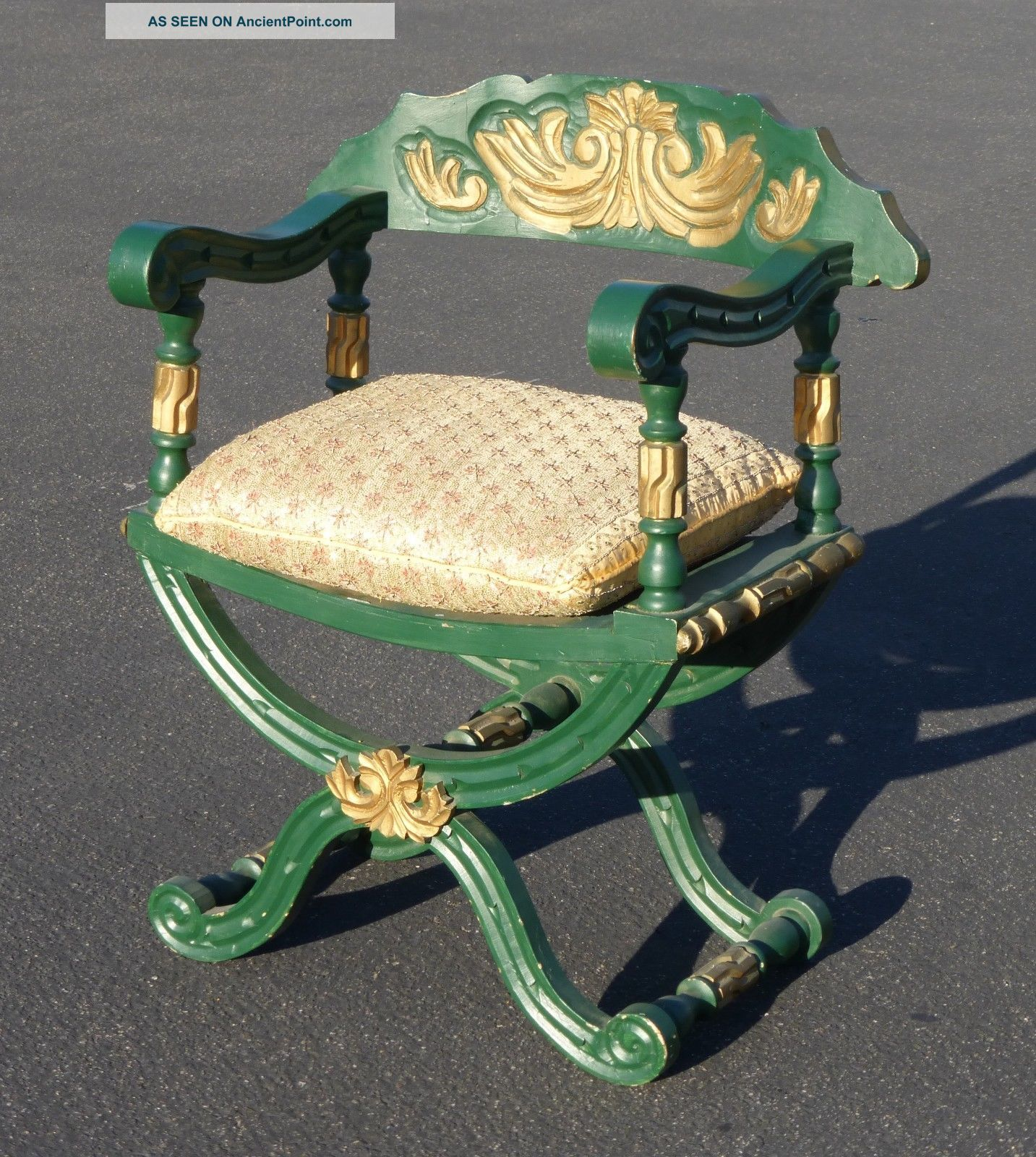 Vtg Hollywood Regency Savonarola Arm Chair Green Gold Silk Down Beaded Cushion Post-1950 photo